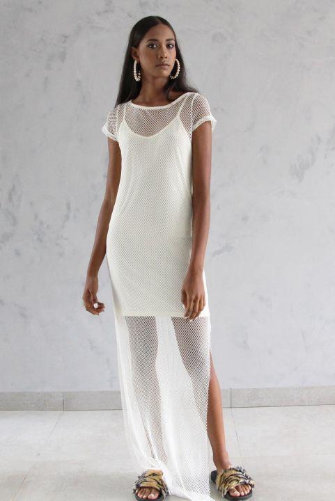 Vestido Longo Mesh Tela Off-White
