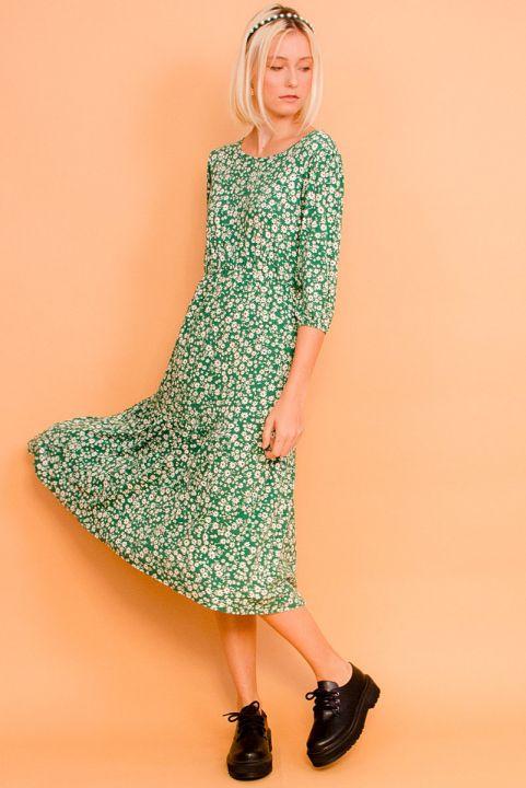 Vestido Malha Floral Radioso - Verde