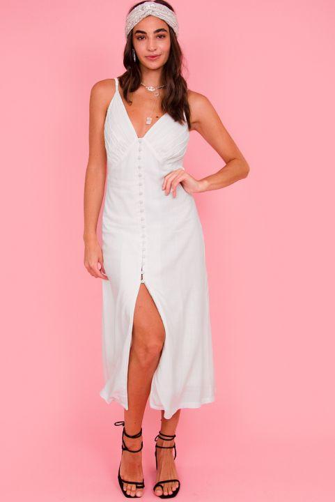 Vestido Midi Linho - Branco