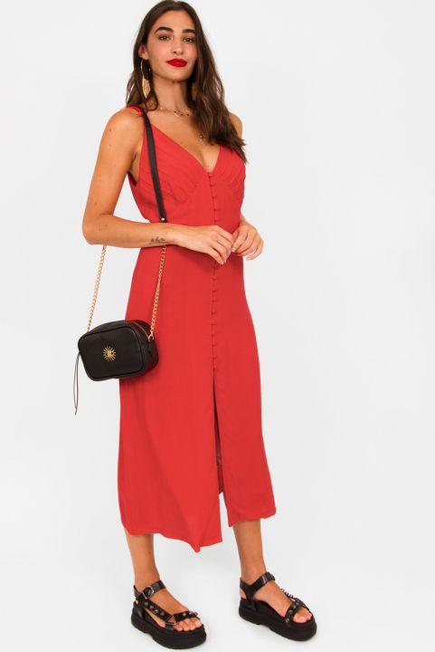 Vestido Midi Linho - Vermelho