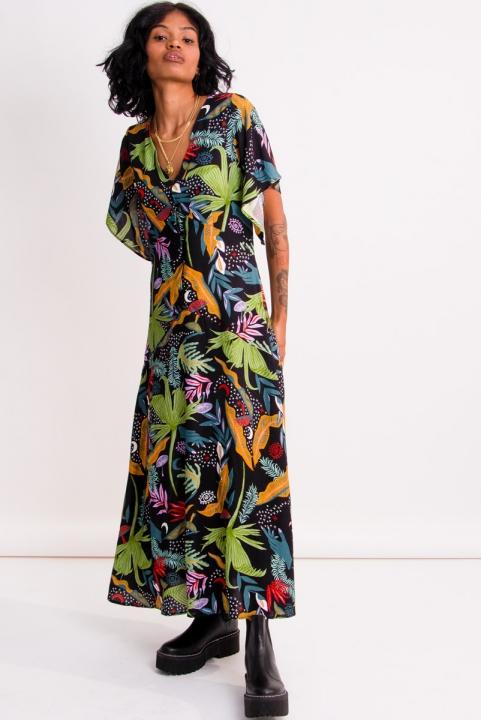 Vestido Midi Mangão Trópicos
