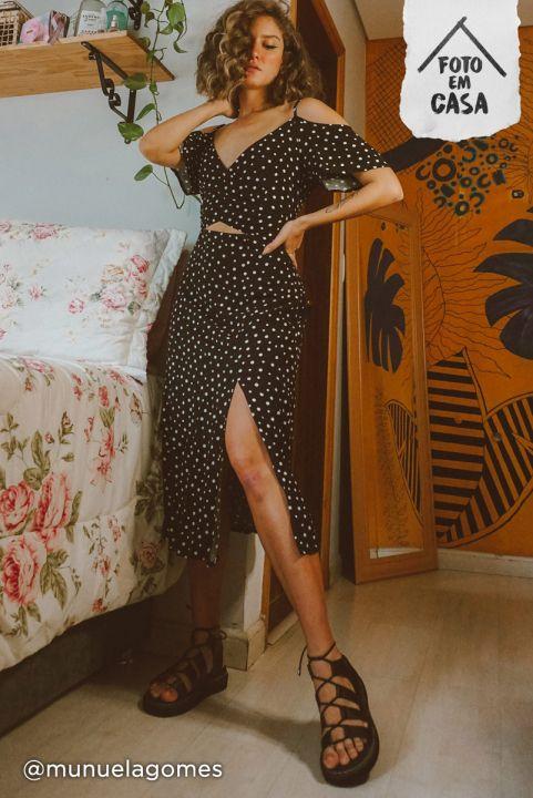 Vestido Midi Manguinha - Poá
