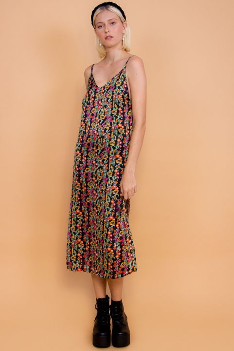 Vestido Satin Midi Fenda Floral