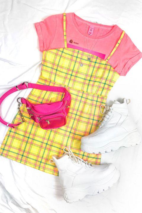 Vestido Xadrez Amarelo Barbie
