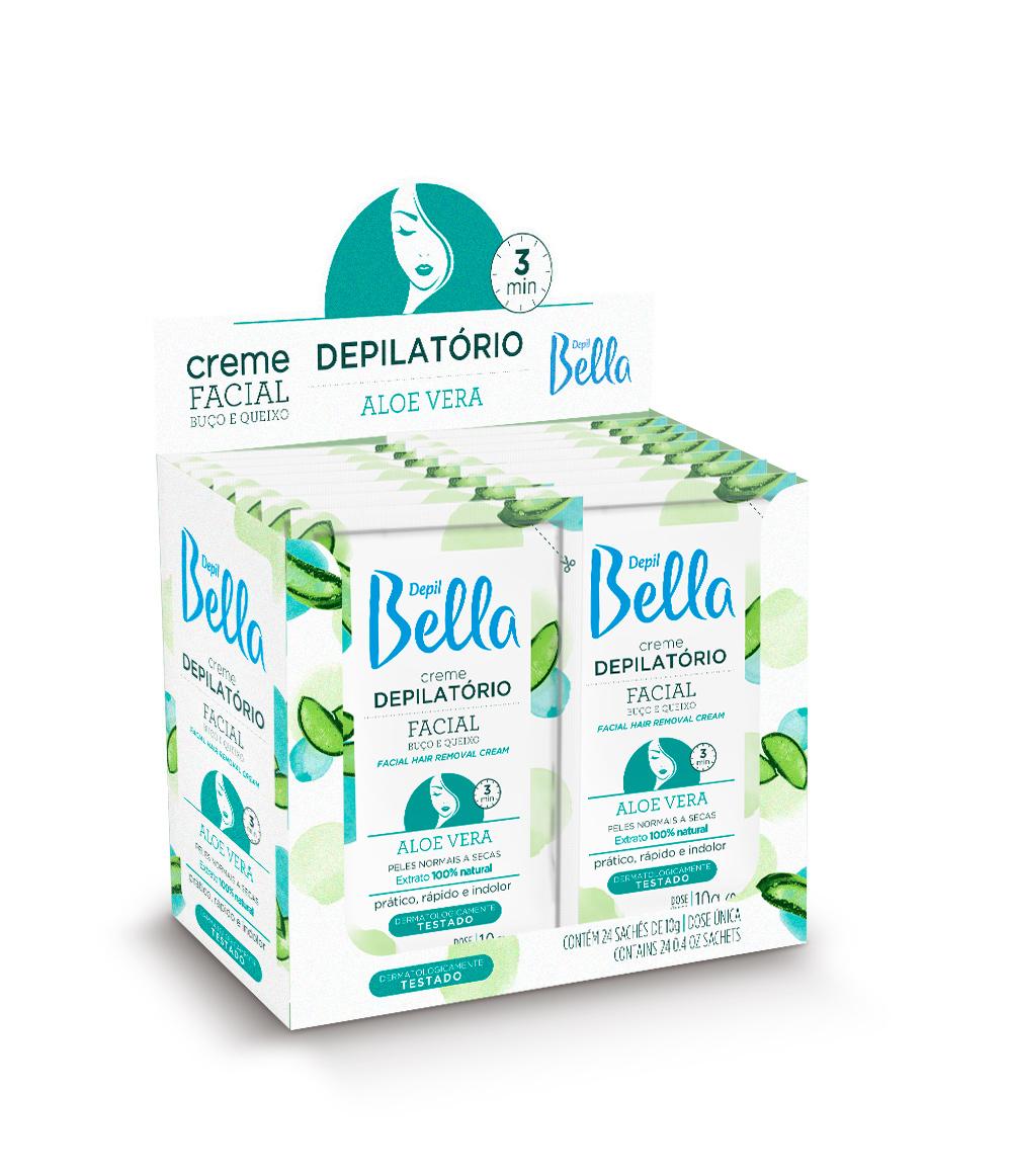 Caixa 24 -  Sachê Creme Depilatório Facial Aloe Vera Depil Bella