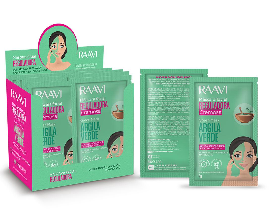 Caixa com 30 - Máscara Facial Argila Verde 8 g