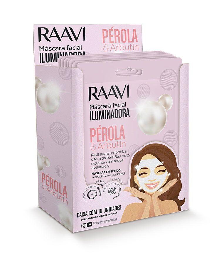 Caixa Máscara de Tecido Facial Iluminadora Pérola e Arbutin Raavi