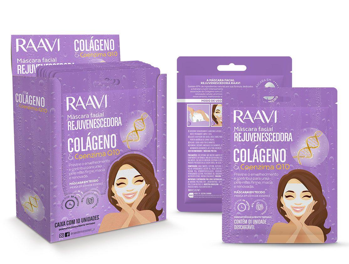 Caixa Máscara de Tecido Facial Rejuvenescedora Colágeno e Q10 Raavi