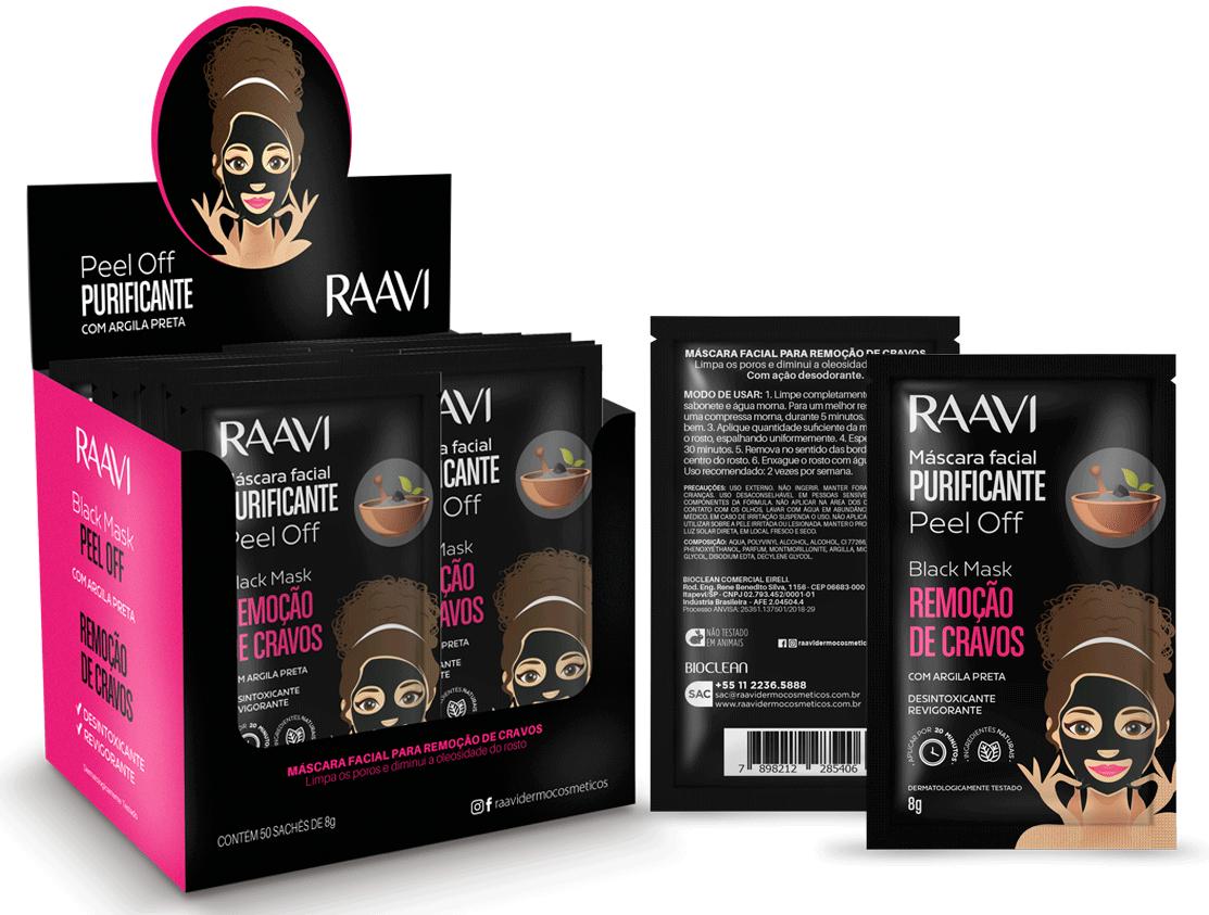 Caixa Máscara Preta - Peel Off Black Mask Raavi |  50 un.