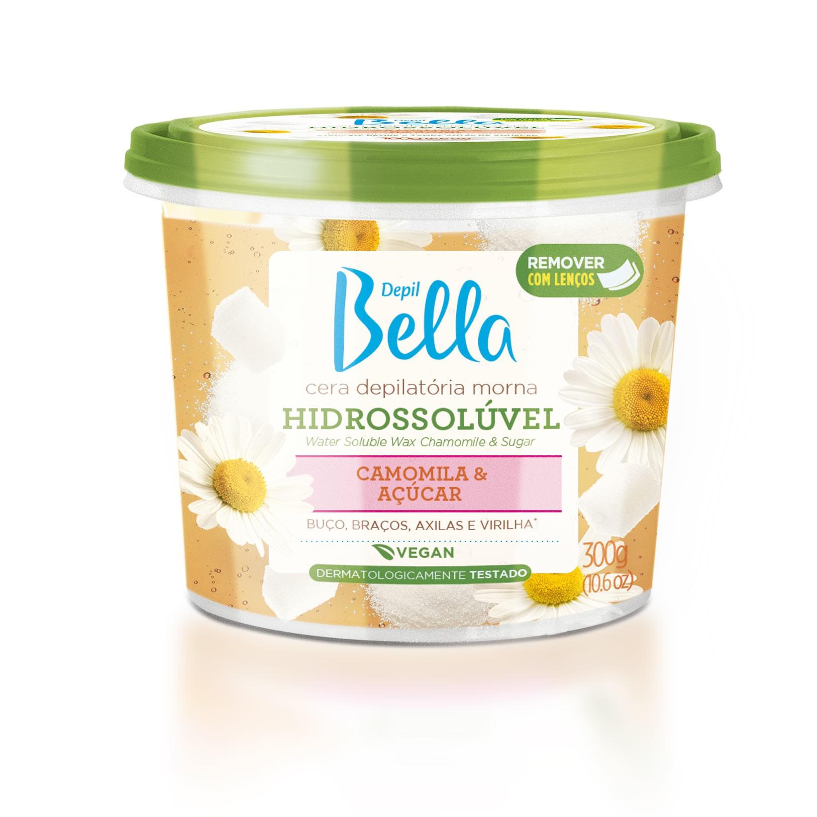 Cera Depil Bella Hidrossolúvel para Micro-ondas Camomila e açúcar 300 g