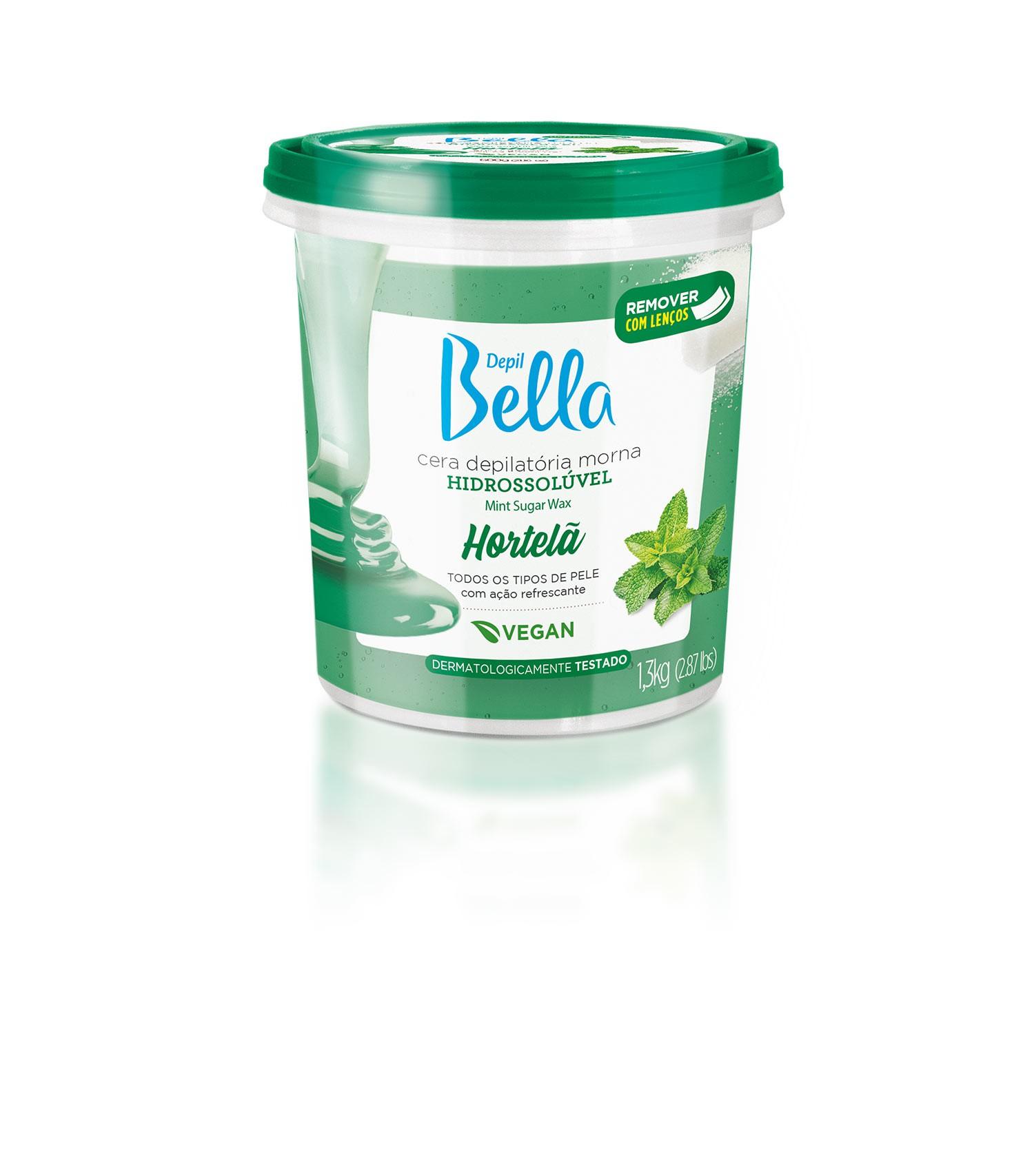 Cera Hidrossolúvel Natural Depil Bella Hortelã Morna 1300 g