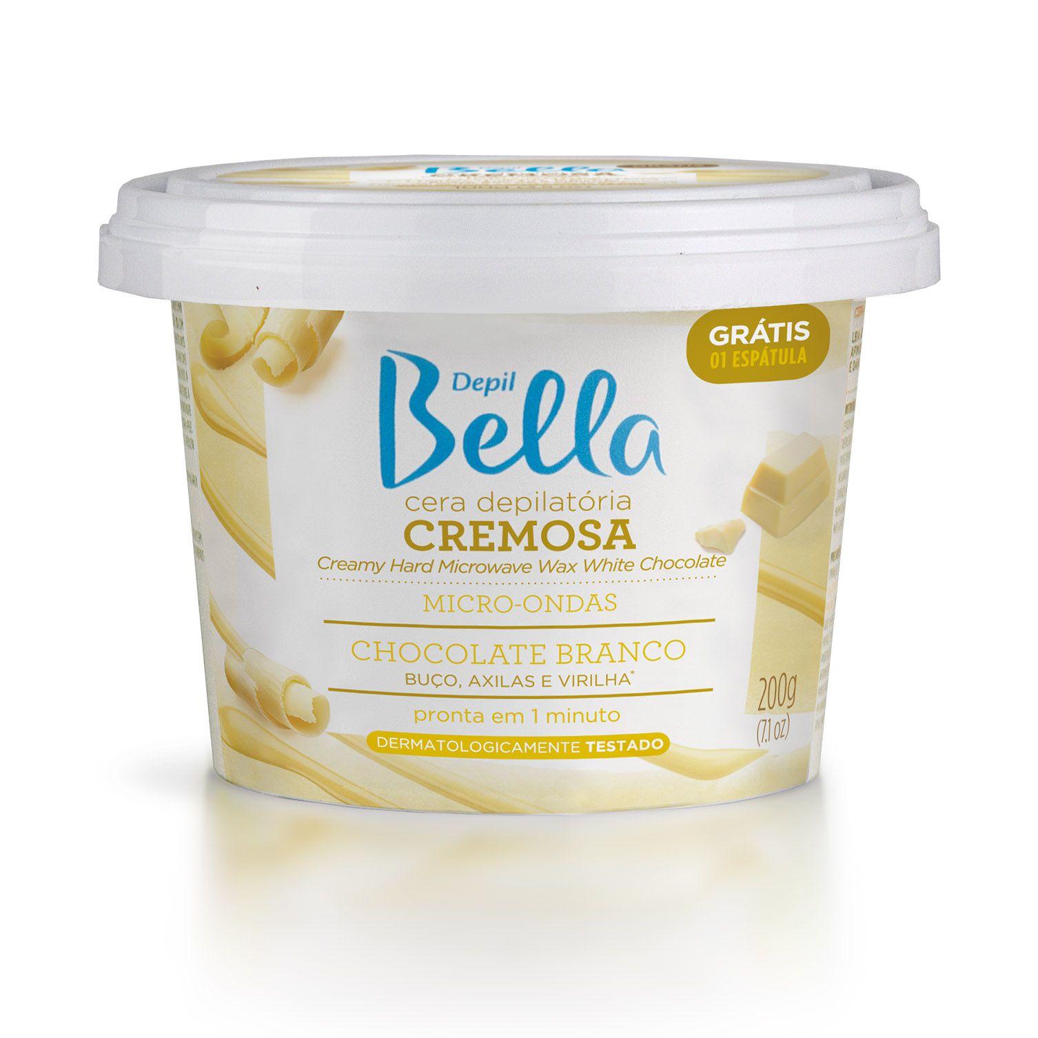 Cera Depil Bella Cremosa Para Micro-ondas Chocolate Branco 200 g