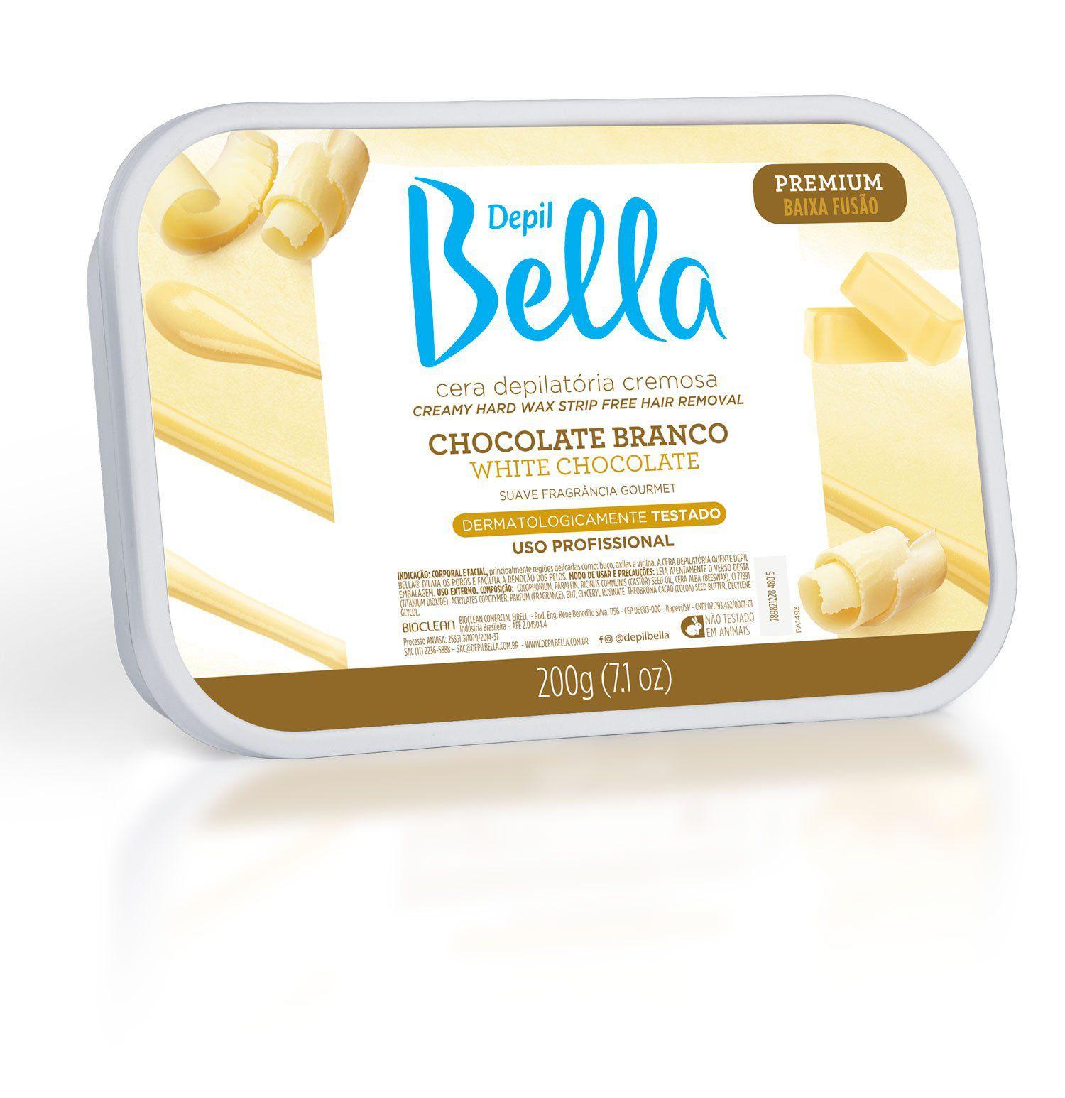 Cera Quente em Barra Cremosa Elástica Chocolate Branco Premium Depil Bella 200 g