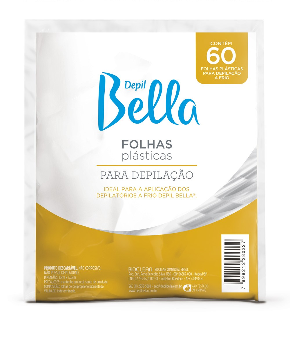 FOLHAS PLÁSTICAS PARA DEPILAÇÃO A FRIO DEPIL BELLA  60 FLS