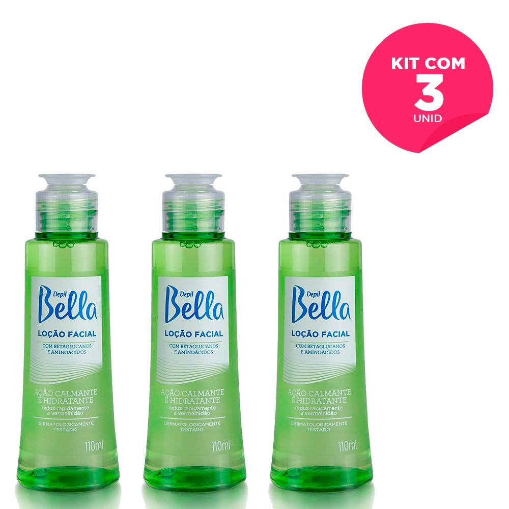 Kit com 3 - Loção Facial Calmante com Betaglucanos e Aminoácidos Depil Bella 110 ml