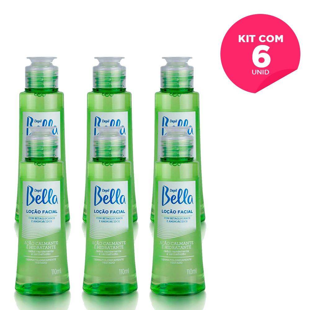 Kit com 6 - Loção Facial Calmante com Betaglucanos e Aminoácidos Depil Bella 110 ml
