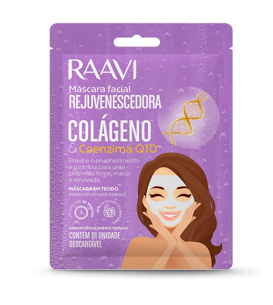 Oferta Secreta - Máscara de Tecido Facial Rejuvenescedora Colágeno e Q10 - Raavi