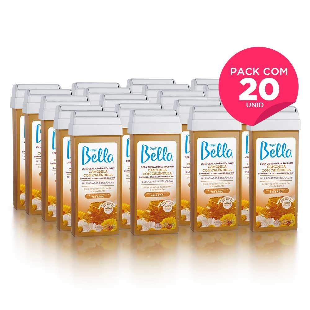 Kit com 20- Refil Cera Depilatória Roll-On Camomila e Calêndula Deo 100 g Depil Bella
