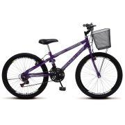 Bicicleta Colli Allegra City Violeta Aro 24 Aero 21 Marcha Freio V-Break