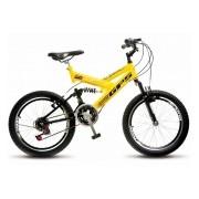 Bicicleta Colli Amarela Dupla Susp. Aro 20 36 Raias Freios V-Brake