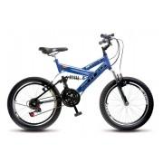 Bicicleta Colli Azul Dupla Susp. Aro 20 36 Raias Freios V-Brake