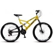Bicicleta Colli Dupla Susp. Amarelo Aro 26 36 Raias 21 Marchas Freios a Disco