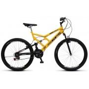 Bicicleta Colli Dupla Susp. Amarelo Aro 26 36 Raias 21 Marchas Freios v-Brake