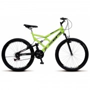 Bicicleta Colli Dupla Susp. Amarelo Neon Aro 26 36 Raias 21 Marchas Freios v-Brake
