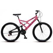 Bicicleta Colli Dupla Susp. Rosa Neon Aro 26 36 Raias 21 Marchas Freios v-Brake