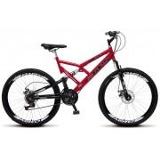 Bicicleta Colli Dupla Susp. Vermelha Aro 26 36 Raias 21 Marchas Freios a Disco