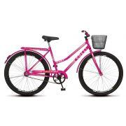 Bicicleta Colli Fort Aro 26 Freio Contra Pedal Cestão Bagageiro Pink