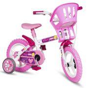 Bicicleta Colli Girl Cadeirinha  Aro 12 Com Rodas de Apoio Cestinha Freio V-Brake Branco