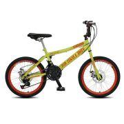 Bicicleta Colli Skill Boy Aro 20 Freio a Disco 21 Marchas Amarelo Neon