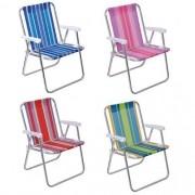 Cadeira De Praia Alta Em Alumínio Dobrável  -Mor