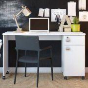 Mesa Computador Office Malta Branca Brilho - Lukaliam