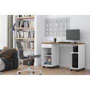Mesa De Computador Million Branco/Nature - Patrimar Móveis