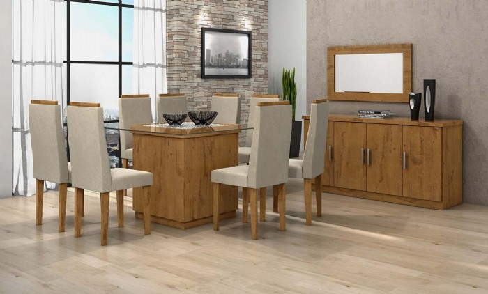 Conjunto Sala De Jantar Completa Petra 130 8 Cadeiras Dafine Buffet