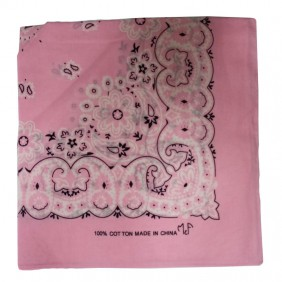 Bandana em Tecido com Estampa Floral Rosa