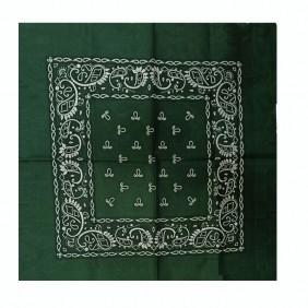 Bandana em Tecido com Estampa Geométricas Verde Escuro