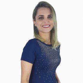 Body Miss Country Feminino Shining com Strass Azul Marinho