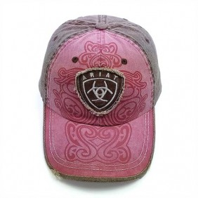 Boné Ariat Feminino Importado com Regulagem Velcro Tradicional Western Hat Womens Rosa e Marrom