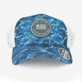 Boné Black Clover Aba Curva Azul Estampado Branco em Tela