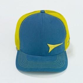 Boné Fast Back Azul Petróleo e Tela Amarelo Logo Alto Relevo