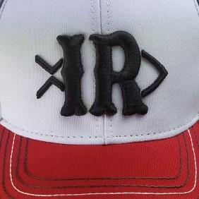 Boné Indiana Ranch Velcro Cinza Branco Vermelho