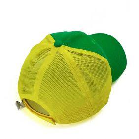 Boné Justin Boots com Regulagem em Velcro Verde e Amarelo