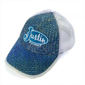 Boné Justin Boots Regulagem Snapback Palha Colorida Azul