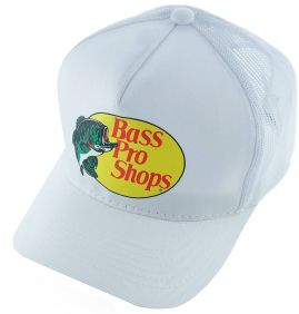 Boné Tela Bass Pro Shops Regulagem Snapback Branco