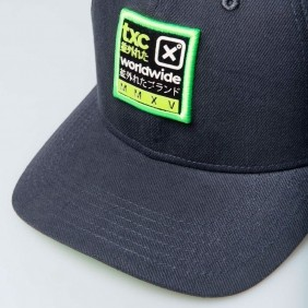 Boné TXC Aba Curva Copa Alta Cinza Verde Logo Bordado