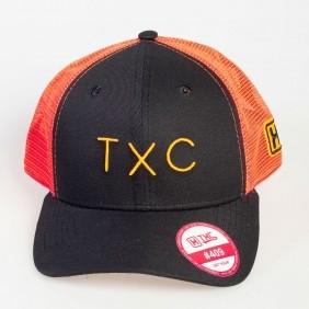 Boné TXC Aba Curva Copa Alta Tela Preto Laranja Logo Bordado