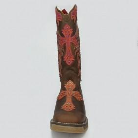 Bota Feminina Goyazes Bico Quadrado Dallas Tabaco Cruz